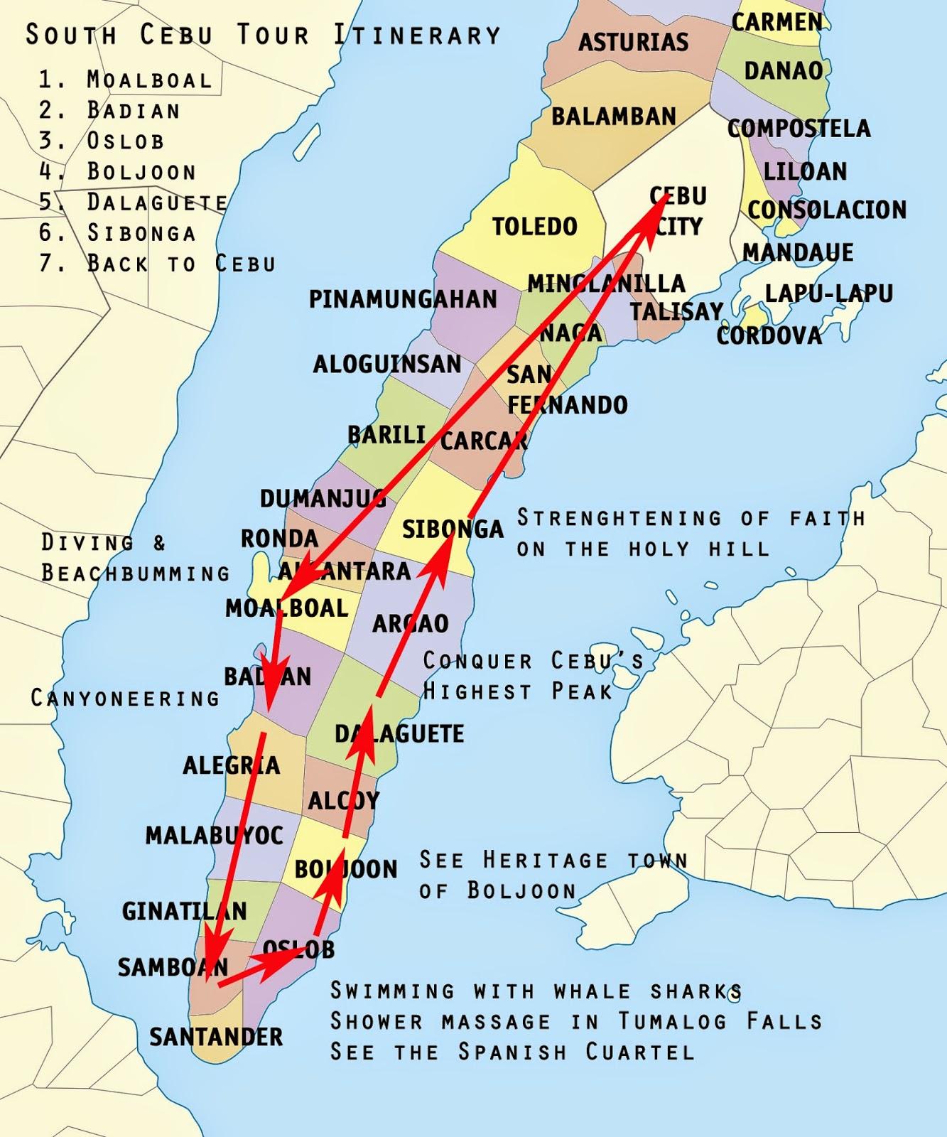 Backpacking Southern Cebu De Ed Itinerary