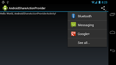 Implement ShareActionProvider for Android 4