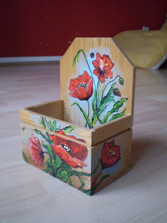 storage box for kitchen or bathroom, hand painted