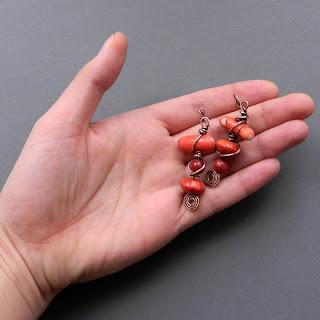 купиьь медные украшения серьги с кораллом из меди этно украина