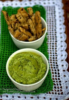 broccoli, green garlic shoots and quark cheese dip, making snacking healthier