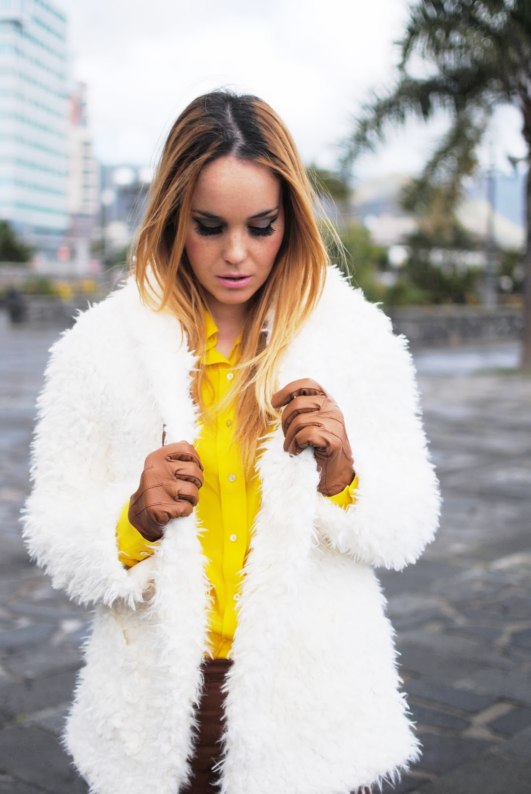 nery hdez, gloves, primark, rosewholesales, fur coat, teddy coat, blonde