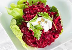 Raw Beet, Red Onion & Caper Salad w/ Coconut Crème Fraîche (Vegan)