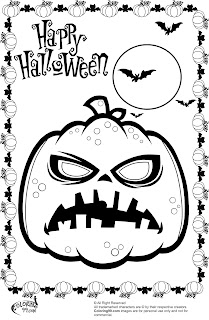 scary halloween pumpkin and the bat moon coloring pages