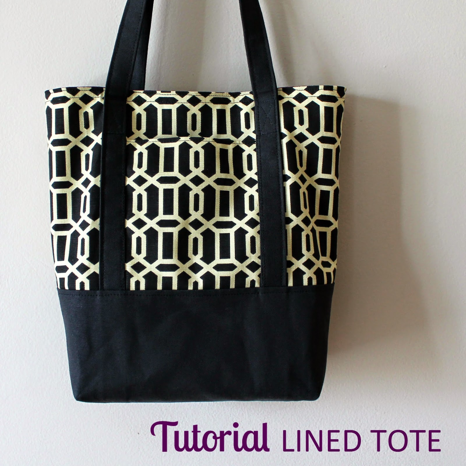 Tutorial: Lined Tote Bag | Step by step directions to sew a lined canvas tote with an outer pocket and a reinforced bottom, including cutting dimentsions. | The Inspired Wren