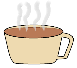 drawing of steaming coffee in a tan colored mug
