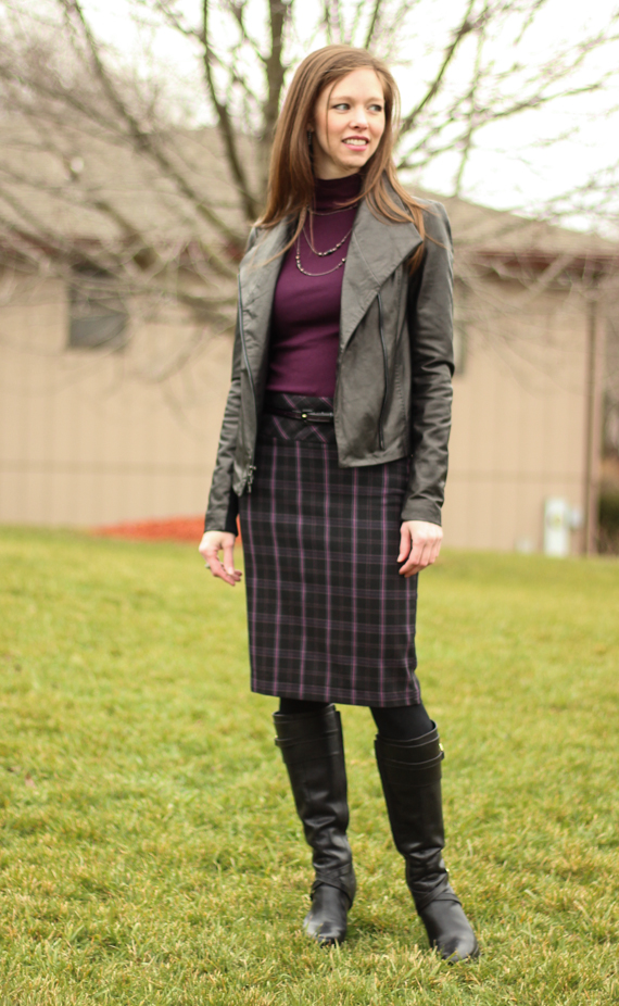 StyleSidebar - Plaid Pencil Skirt, High Black Boots