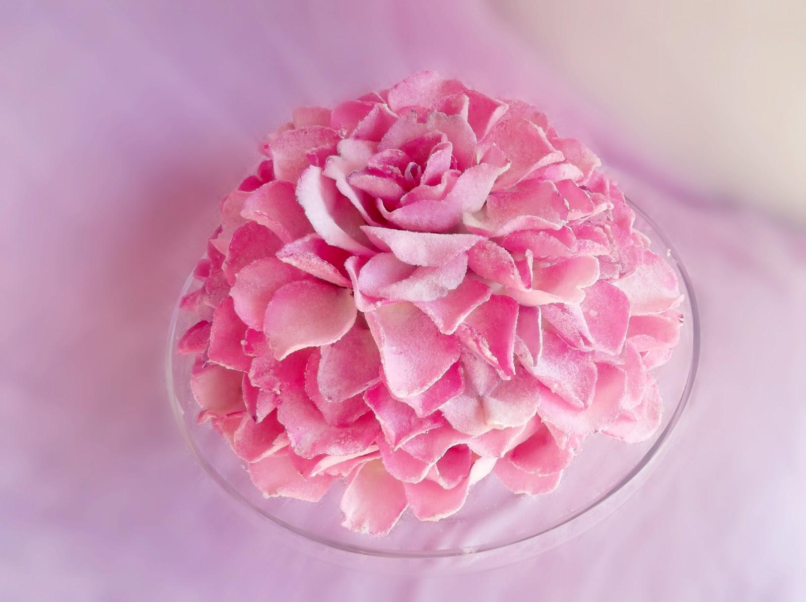 Rose Petal Cake Images : Lick The Spoon: Giant Sugared Rose Petal Cake