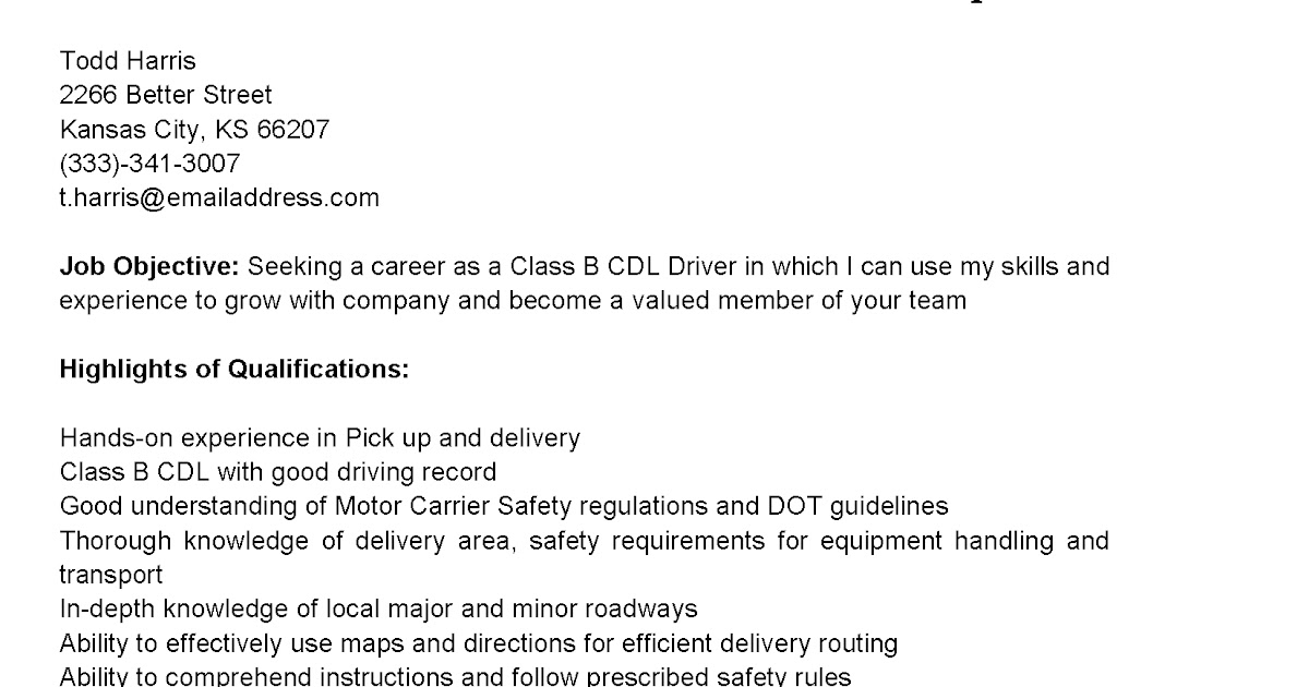 Driver Resumes Class B CDL Driver Resume Sample