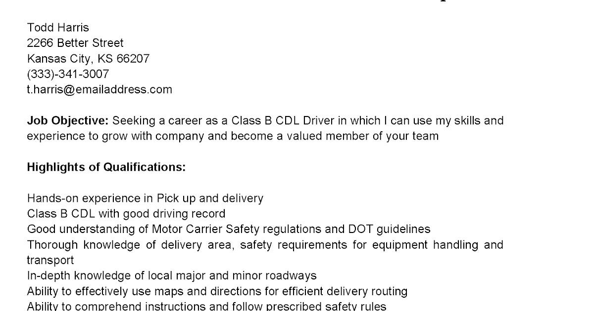 driver resume cdl driver resume driver resumes class b cdl driver