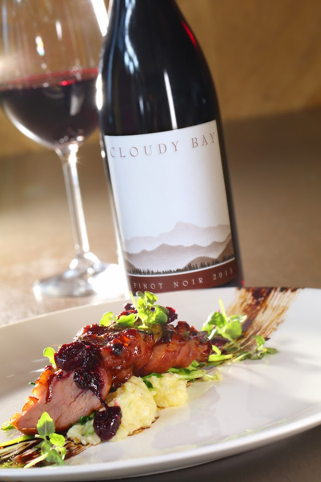 Pan Seared Marinated Duck Breast, served with Raspberry Sauce & Foie Gras for two,
