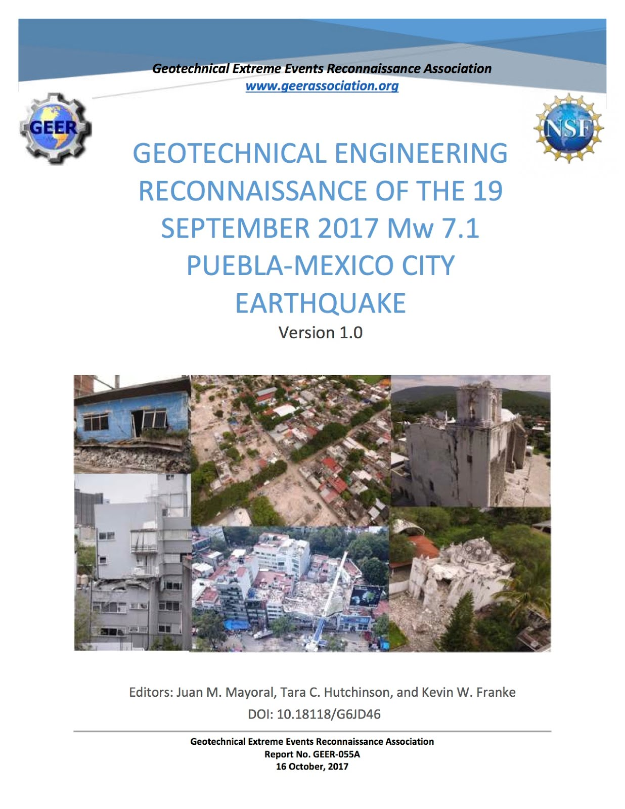 GEOTECHNICAL ENGINEERING RECONNAISSANCE OF THE 19 SEPTEMBER 2017 Mw 7.1 PUEBLA-MEXICO CITY EARTHQUA