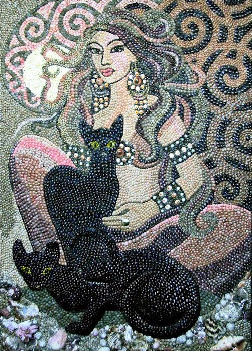 Seashell mosaic artwork