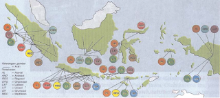 Peta persebaran jenis tanah di Indonesia (Sumber: IPS Geografi untuk SLTP kelas 2, Erlangga)