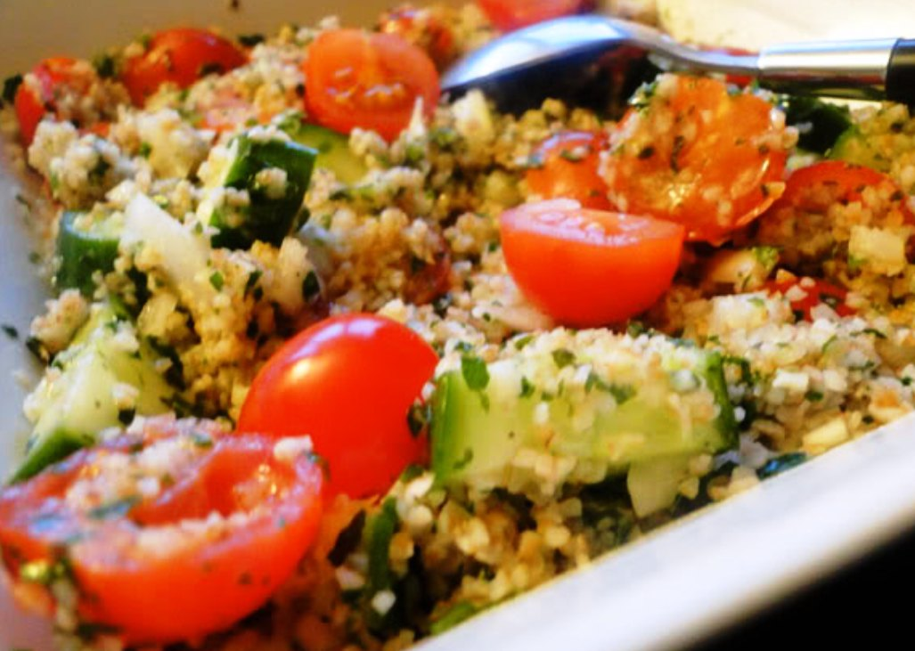 bulgur wheat salad with chickpeas roasted red peppers and cumin the