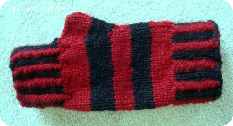 Knitting Pattern Fingerless Mittens Two Needles : Third Times a Charm: Striped Fingerless Gloves