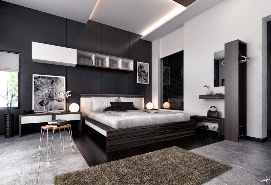 gambar kamar warna hitam putih