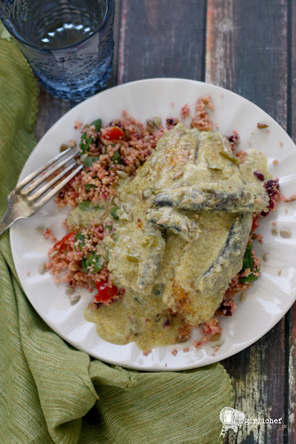 Tilapia and Sardines in Creamy Asparagus Sauce over Confetti Couscous