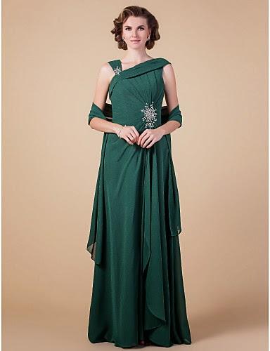 Vestido de Madrina Verde de Gasa con Bolero