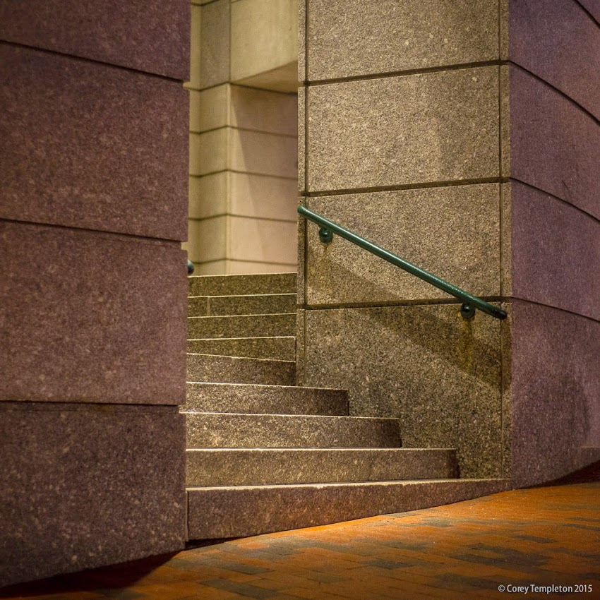 One Portland Square in Portland, Maine stairs entrance at night April 2015 photo by Corey Templeton