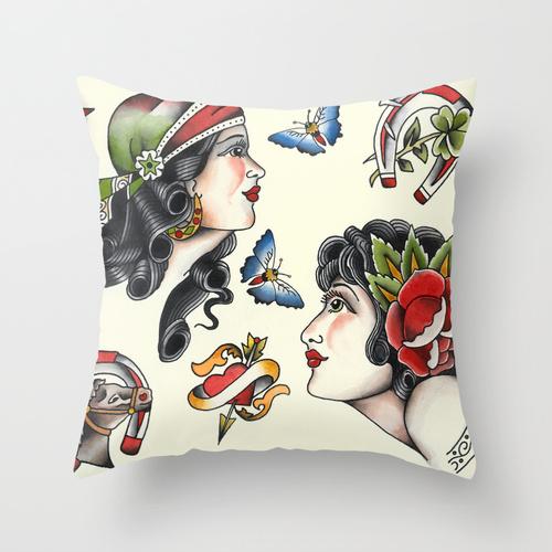 sebastian orth - traditional tattoo style throw pillow