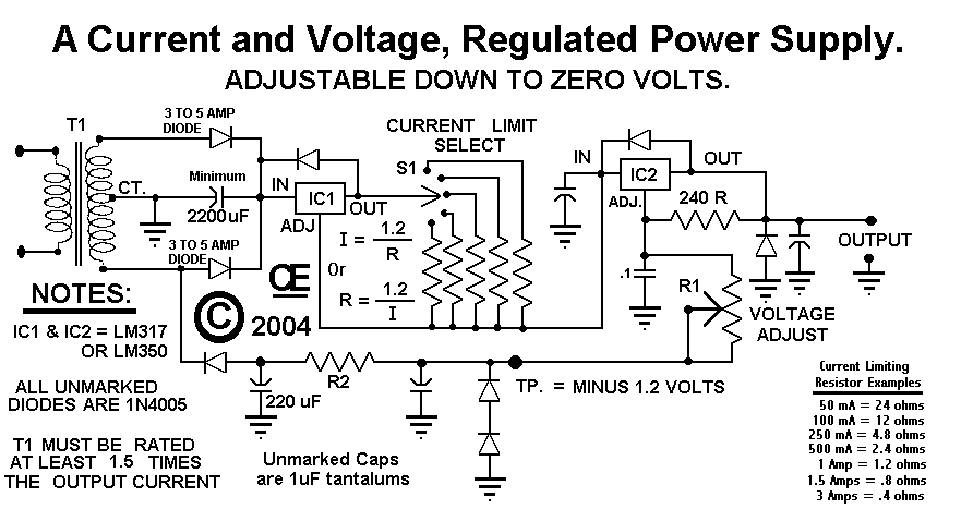 Power Supply For Regulated Current And Voltage Simple Schematic
