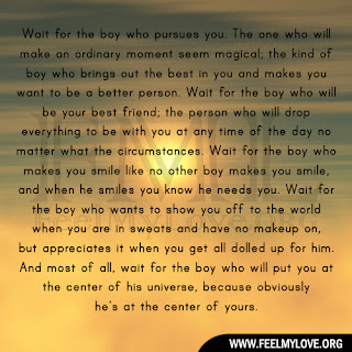 Wait for the boy who pursues you