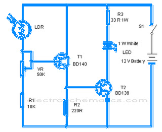 Emergency Lamp with LDR Schematic
