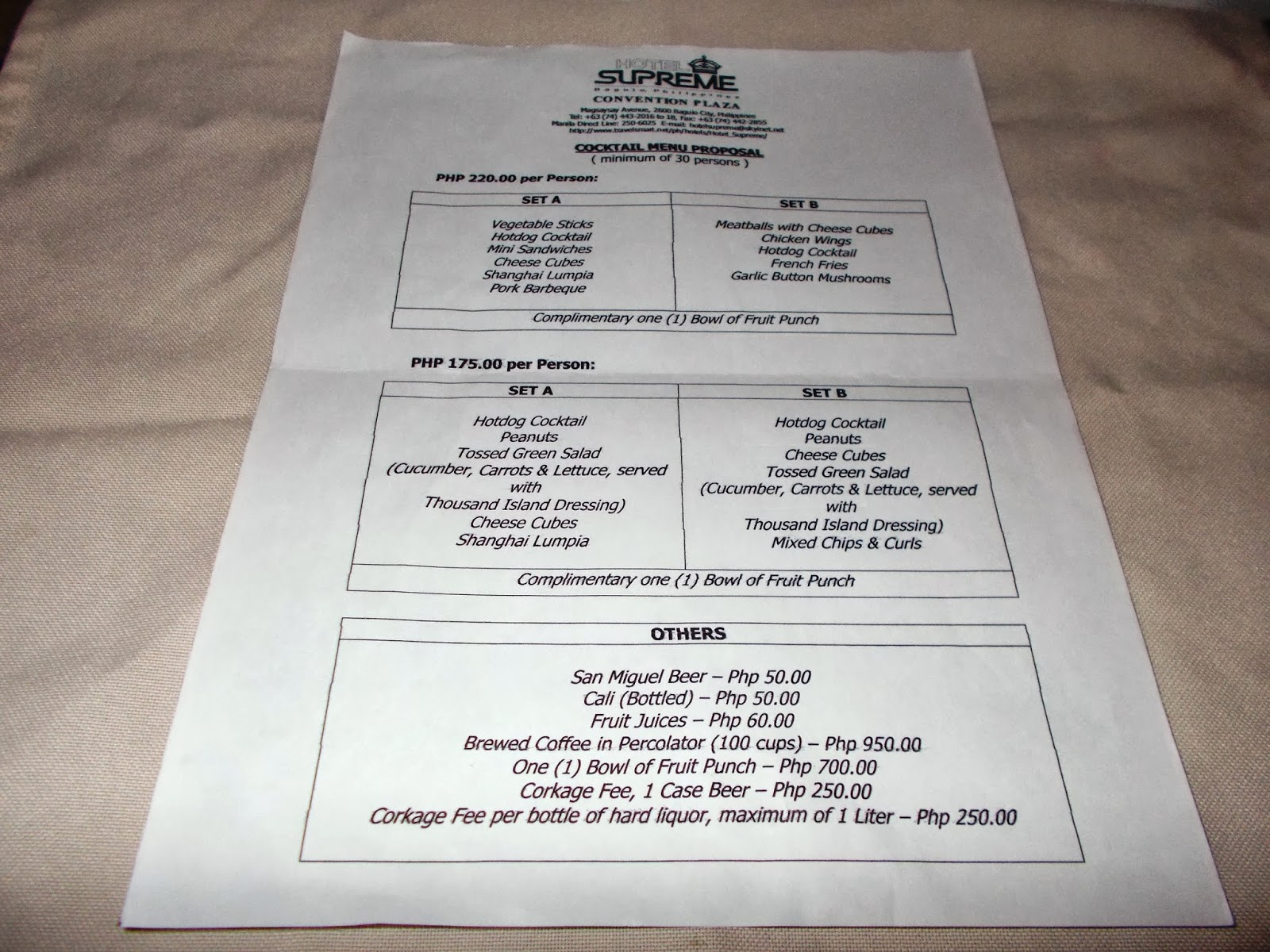 Supreme Hotel Menu List And Rates Wedding Packages