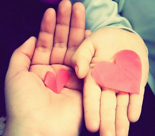 mother child hands hearts