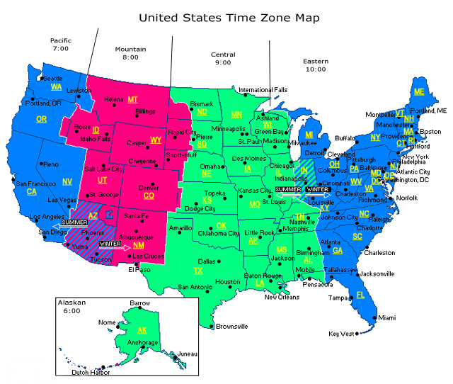 Usa Canada Map Time Zone