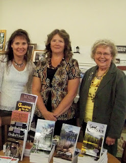 From left: authors Carmen Peone, Paty Jeger & Janet Chester Bly at booksigning in Clarkston, WA