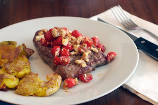 steak+with+feta+and+tomatoes Grilled Steak with Feta and Tomato Salsa and Crispy Smashed Potatoes