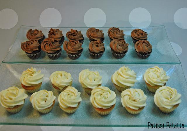 recette de cupcakes, recette de mini cupcakes, ganache montée chocolat blanc, ganache montée chocolat au lait, mignardises,