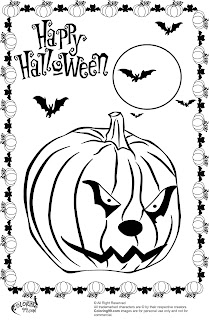 scary halloween pumpkin with cat face coloring pages