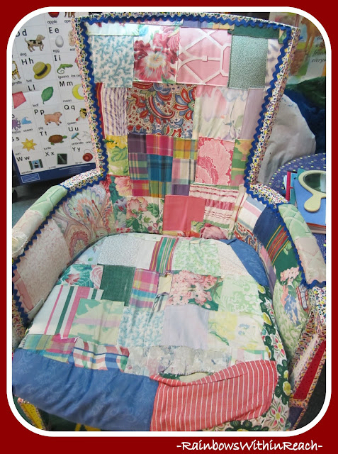 photo of: Quilted Author's Chair in the Kindergarten Classroom via RainbowsWithinReach Reading Center RoundUP 