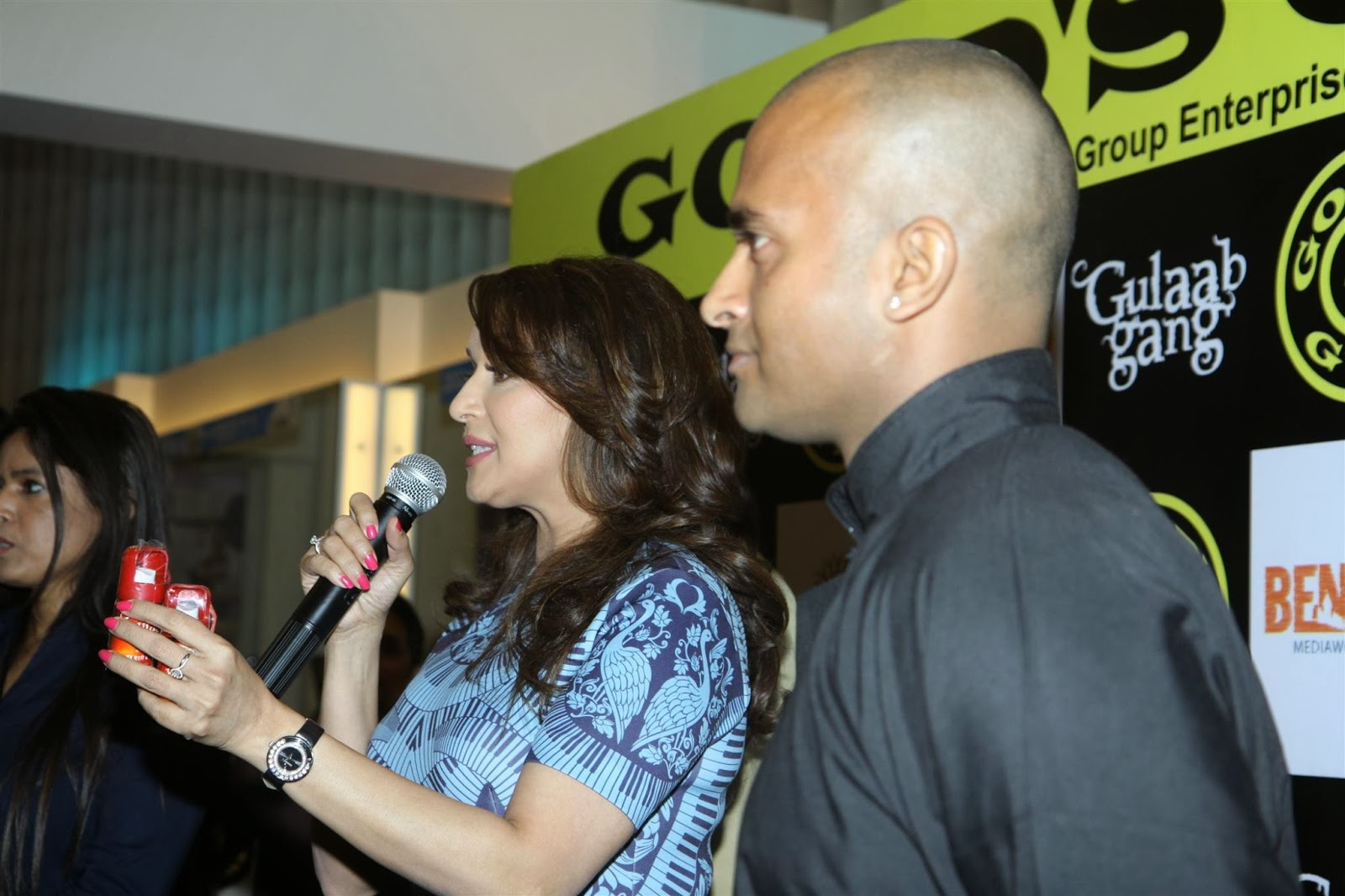 Madhuri Dixit promotes her movie 'Gulaab Gang' at Gold Gym