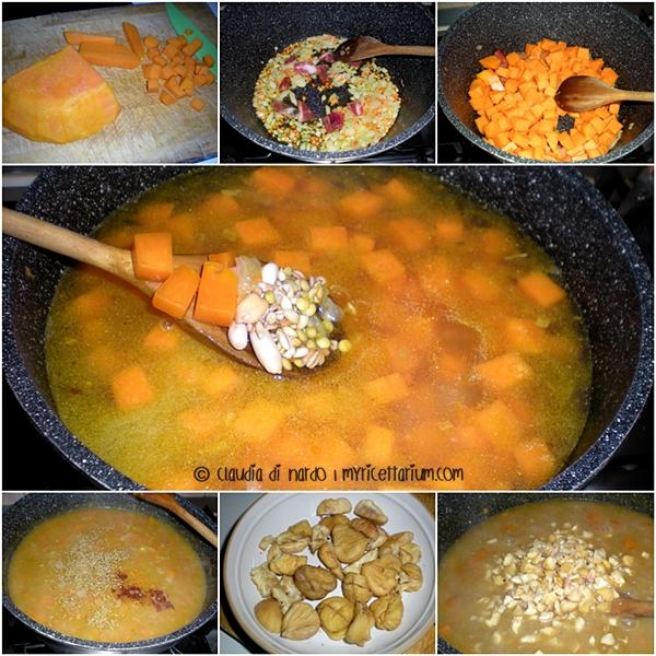 Zuppa di cereali e legumi con zucca, castagne e tartufo