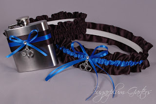 thin blue line wedding flask garter set
