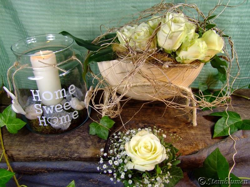 tischdeko mit wei en rosen. Black Bedroom Furniture Sets. Home Design Ideas