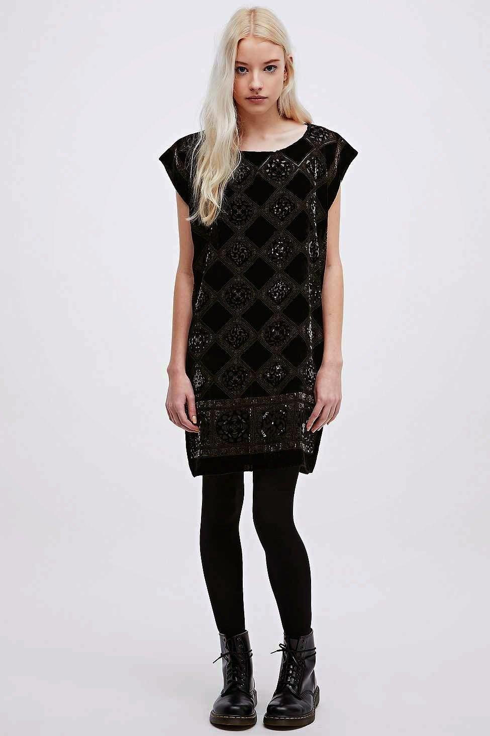 urban outfitters black and gold dress,