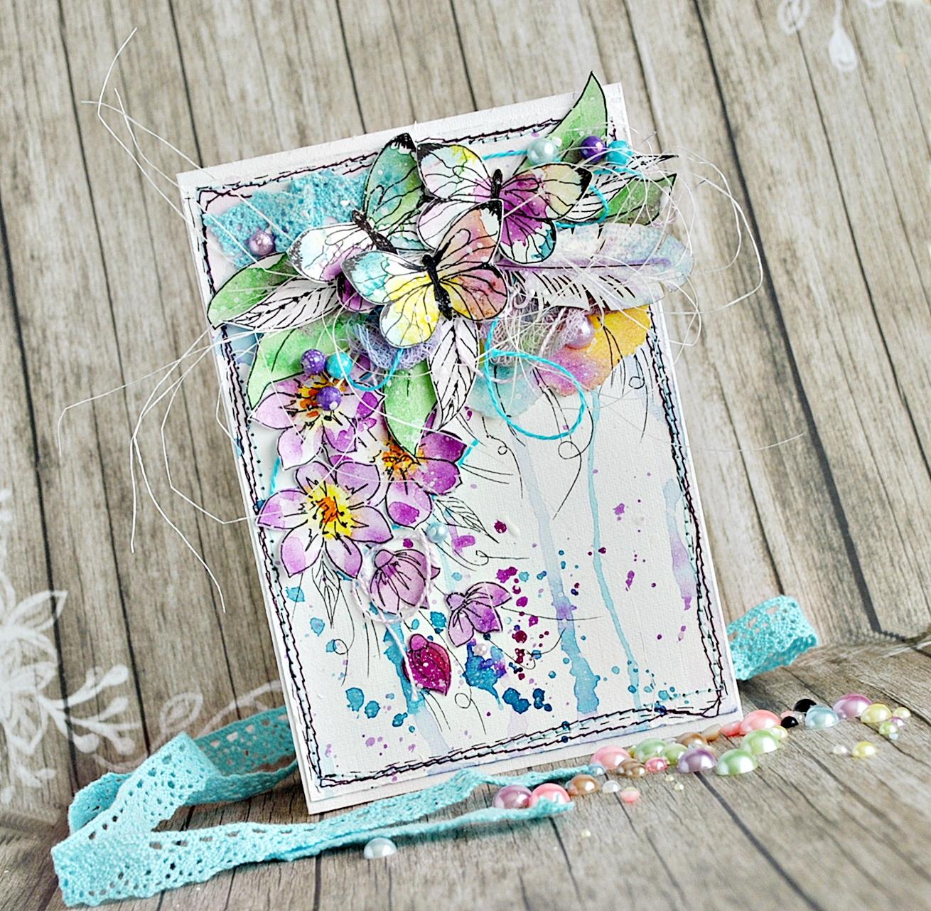 Рисуем бабочек акварель