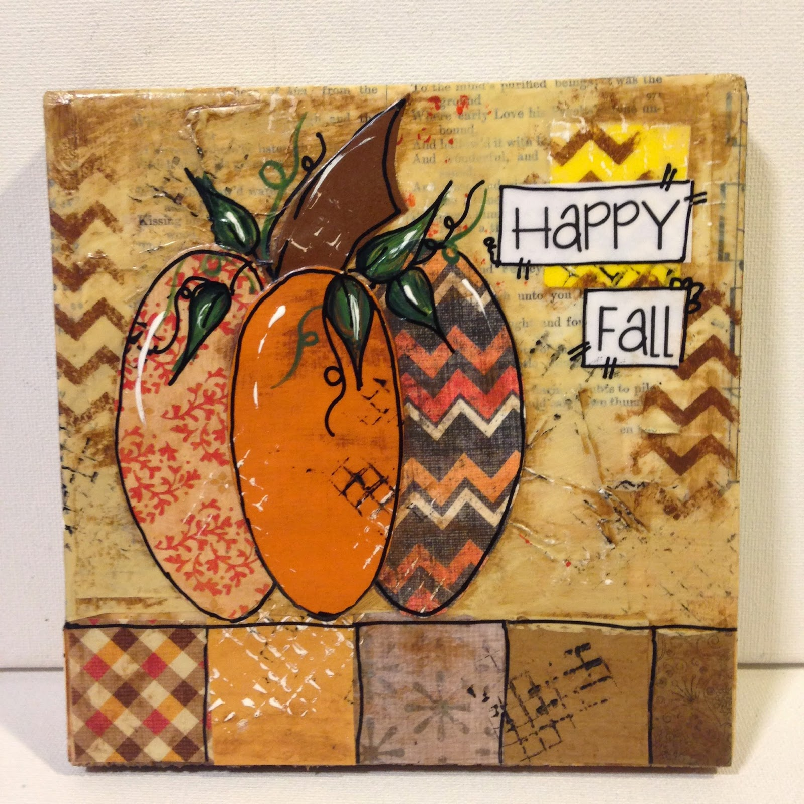 fall painting, pumpkin painting, mixed media pumpkin