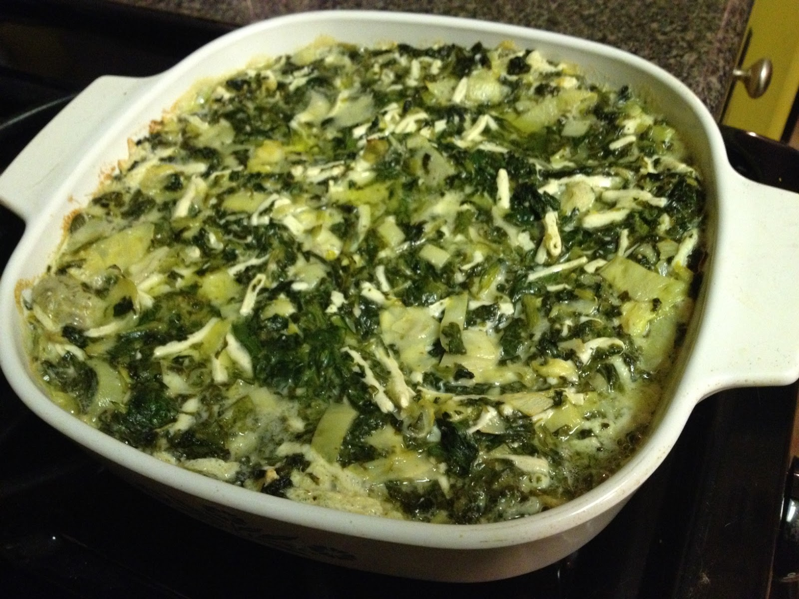 So anyway, I whipped up a quick Spinach Artichoke Dip , which I'll be ...
