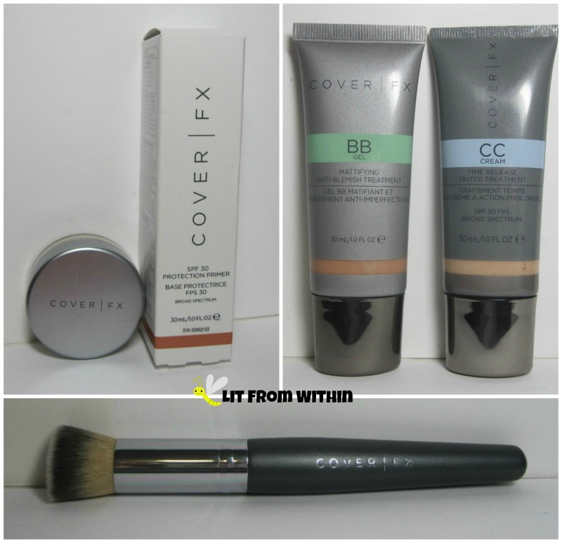 Cover FX products - Primer, Powder, Liquid Foundation Brush, BB Gel, and CC Cream