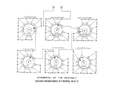 Esquema de una caja de resistencias con conmutadores rotatorios