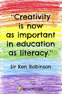 Image of a quote that says Creativity is now important in education as literacy with colored crayon scribbles in the back