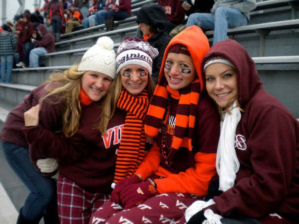 Me Brittany Rebecca And Andrea At A Hokie Football Game