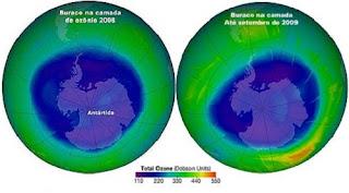 A imagem acima apresenta duas amostras compostas da concentração de ozônio sobre a região Antártica em 2008 e até setembro de 2009. Medido em unidades Dobson, o déficit do gás é visto na coloração roxa e foram coletados pelo instrumento de monitoramento de ozônio a bordo do satélite Aura, da Nasa.