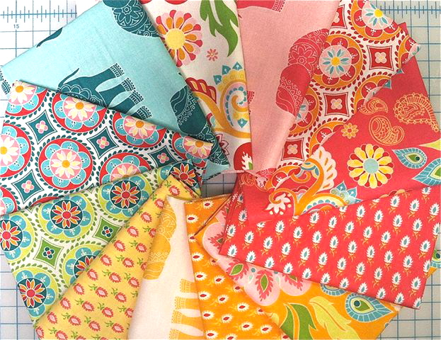 aqua blue, green, yellow, orange, hot pink Indian style quilting fabric